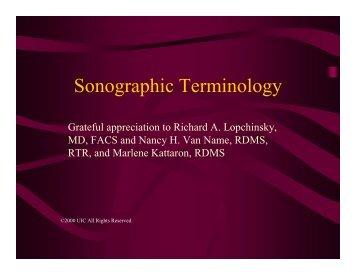 Sonographic Terminology
