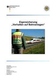 Eigensicherung - Verhalten auf Bahnanlagen