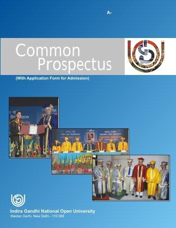 Common Prospectus - Online Admission Form of IGNOU