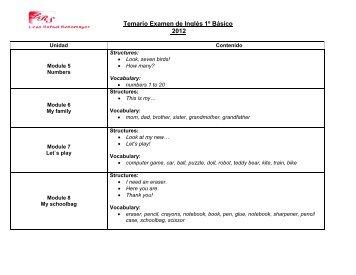Temario Examen de Inglés 1º Básico 2012