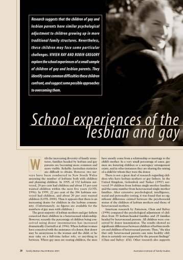 School experiences of the children of lesbian and gay parents (PDF ...