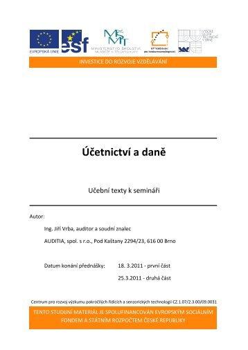 Účetnictví a daně - Centrum pro rozvoj výzkumu pokročilých řídicích ...
