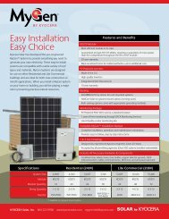 View the Spec Sheet - KYOCERA Solar