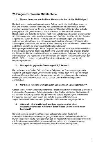 25 Fragen und Antworten zur Neuen Mittelschule
