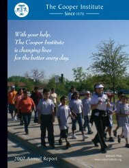 With your help, The Cooper Institute is changing lives for the better ...