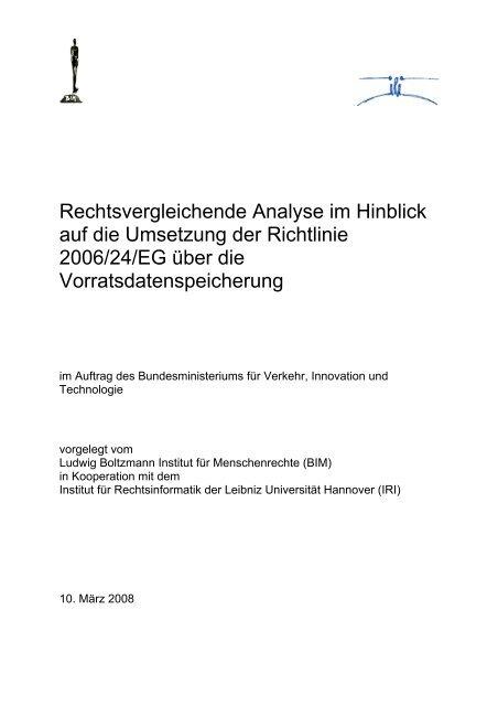 Rechtsvergleichende Analyse im Hinblick auf die Umsetzung der ...