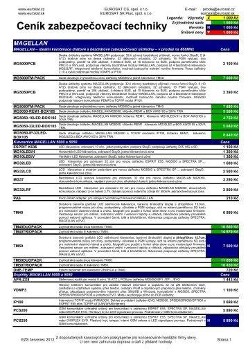 Ceník zabezpečovací techniky - Eurosat CS