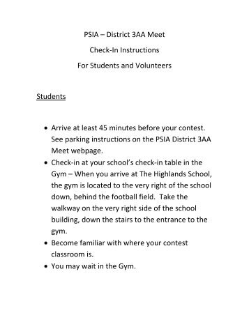 PSIA – District 3AA Meet Check-In Instructions For Students and ...