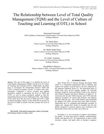 The Relationship between Level of Total Quality Management (TQM ...