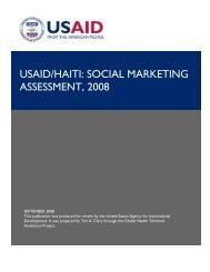 USAID/HAITI: SOCIAL MARKETING ASSESSMENT, 2008 - GH Tech