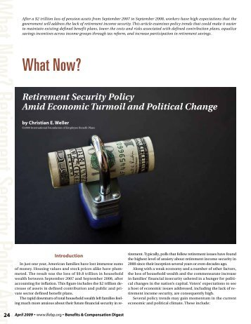 Benefits & Compensation Digest, Vol. 46, No. 4, April 2009