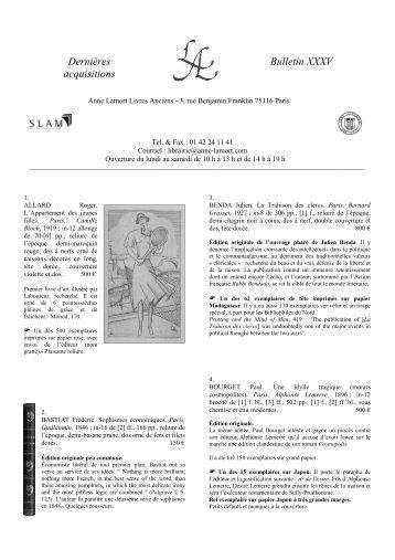 bulletin 35 - Anne Lamort Livres Anciens