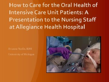 A Presentation to the Nursing Staff at Allegiance Health ... - CTools