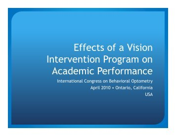 Effects of a Vision Intervention Program on Academic Performance