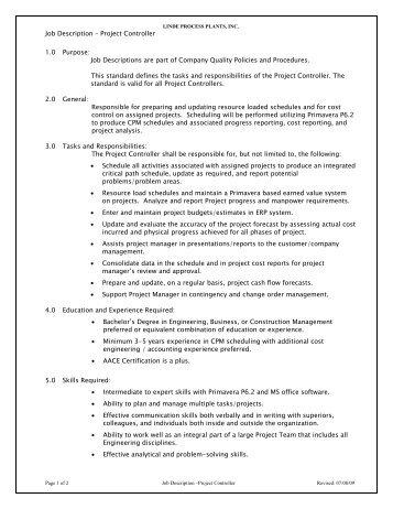 Job Description – Project Manager 1.0 Purpose - Linde Process ...