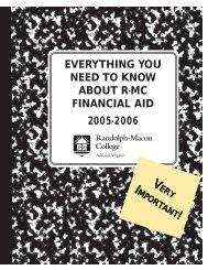 financial aid - Randolph-Macon College