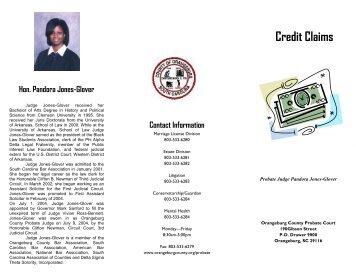 Credit Claims - Orangeburg County