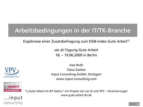 Arbeitsbedingungen in der IT/TK-Branche - Gute Arbeit - ver.di Tagung