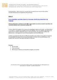 Les enquêtes sociales dans le nouveau droit de protection ... - Kokes