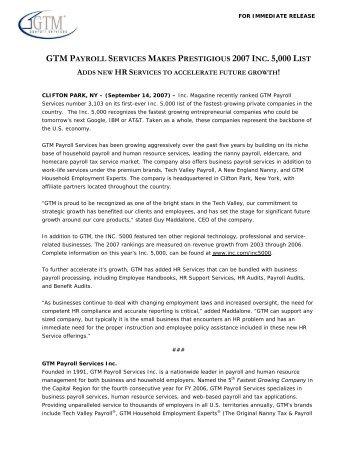 GTM Makes Prestigious INC. 5000 List - GTM Payroll Services