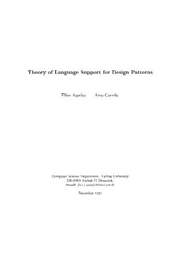 Theory of Language Support for Design Patterns Ellen ... - Daimi