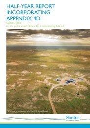 Appendix 4D 2011 Half Year Report and Accounts - Santos