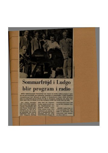 Sommarfröjd i Ludgo blir program i radio