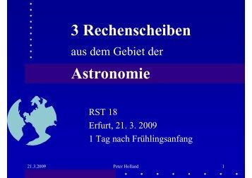 3 Rechenscheiben aus dem Gebiet der Astronomie