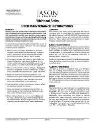 Whirlpool Bath Maintenance Instructions - Jason International