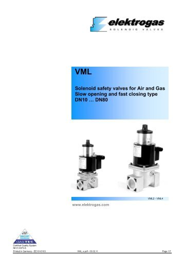 VML Solenoid safety valves for Air and Gas Slow opening and fast ...
