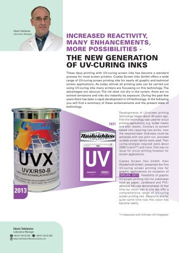the New Generation of UV-Curing Inks - Coates Screen