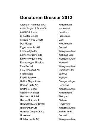 Donatoren Dressur 2012 - Reitverein Wangen a. Aare