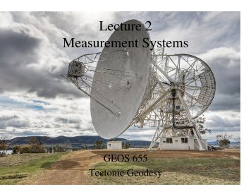 2. Measurement systems; sampler of applications