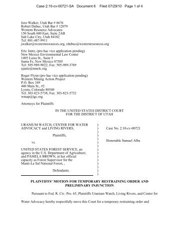 Opposition to motion for temporary restraining order native motion for temporary restraining order uranium watch publicscrutiny Images