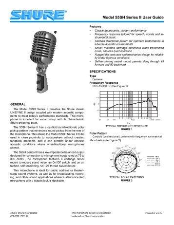 Manual for Shure 55SH Series II Mic