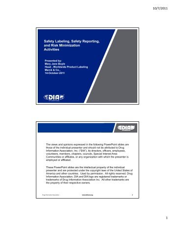 10/7/2011 1 Safety Labeling, Safety Reporting, and Risk ...