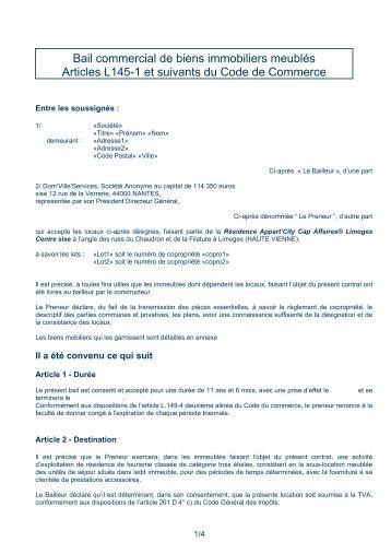 Bail commercial de biens immobiliers meublés Articles L145 ... - CN2i