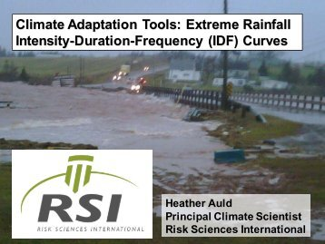 Climate Adaptation Tools: Extreme Rainfall Intensity ... - UPEI Projects