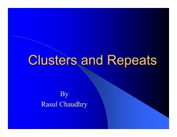 Clusters and Repeats