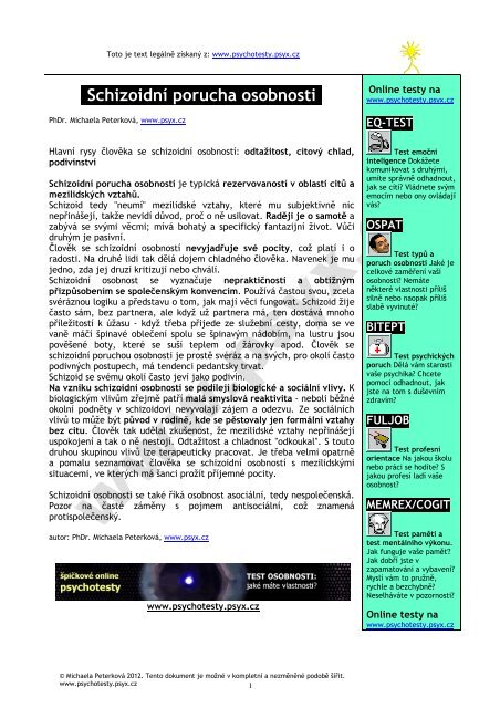 Schizoidní porucha osobnosti - Psychotesty