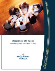 2009-10 Annual Report - Finance - Government of Newfoundland ...