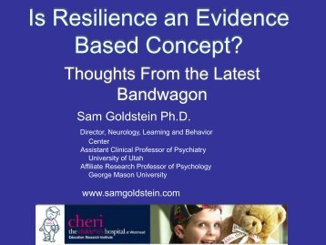 Is Resilience an Evidence Based Concept? - CHERI - The ...