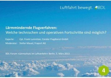 Lärmmindernde Flugverfahren: Welche technischen und operativen ...