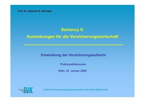 Solvency II: Auswirkungen für die Versicherungswirtschaft