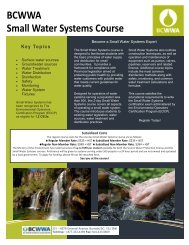 BCWWA Small Water Systems Course - BC Water & Waste ...