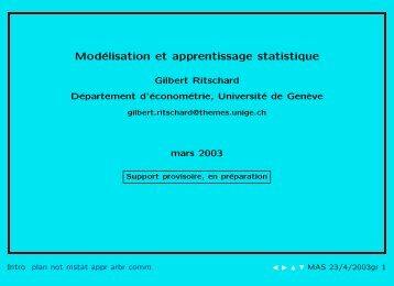 Modélisation et apprentissage statistique - Statistique pour sciences ...