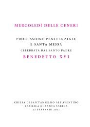 MERCOLEDÌ DELLE CENERI BENEDETTO XVI - La Santa Sede