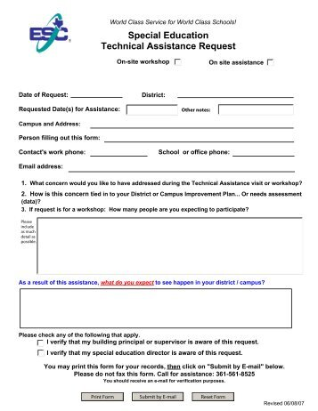 Special Education Technical Assistance Request - ESC2 Special ...