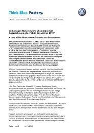 PM_Chemnitz ist Fabrik des  Jahres 2011 - Volkswagen Sachsen ...