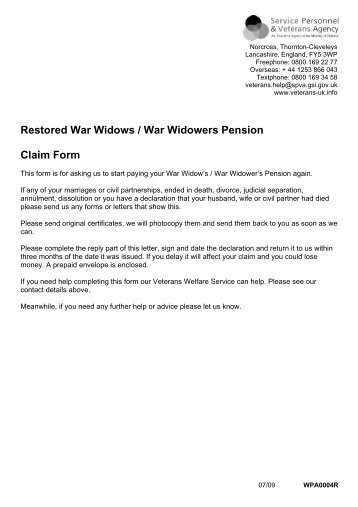 Factsheet 5 War Widow(Er)S - War Pensions Scheme   - Veterans-Uk